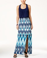 Trixxi Juniors' Crisscross-Back Printed Maxi Dress