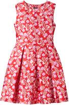 Oscar de la Renta Red and Pink Petite Roses Sleeveless Dress