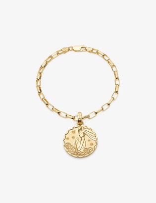 Rachel Jackson Zodiac Coin Aquarius 22ct gold-plated sterling silver box chain bracelet