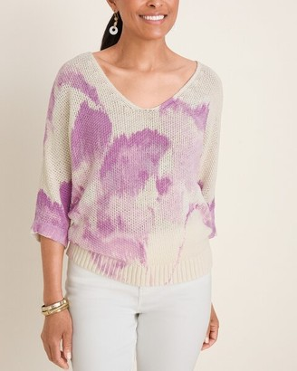 Chico's Printed V-Neck Tape Yarn Pullover Sweater