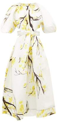 Aje - Mimosa Floral-print Linen-blend Satin Dress - Womens - Yellow White