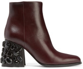 Marni Embellished Leather Ankle Boots - Merlot