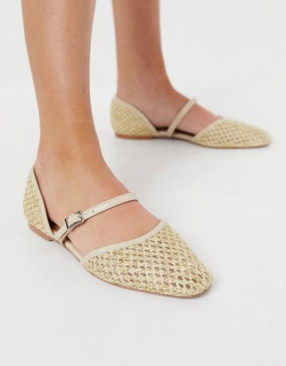 ASOS DESIGN Lisa woven double Mary Jane ballet flats in natural