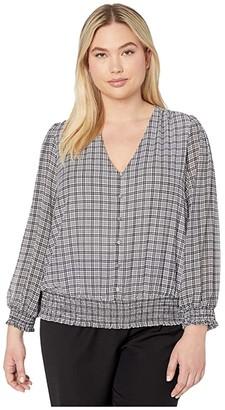 MICHAEL Michael Kors Size Cheeky Check Smocked Blouse (White) Women's Clothing
