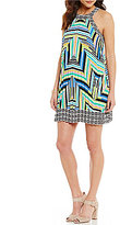Laundry by Shelli Segal Pleated Print Halter Dress