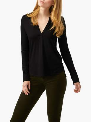 Pure Collection Jersey V-Neck Top, Black