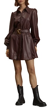 Nicholas Andrea Belted Faux Leather Shirt Dress