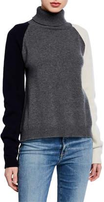 Majestic Tricolor Long-Sleeve Turtleneck Sweater