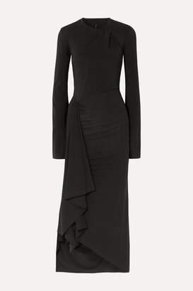 Unravel Project Twisted Draped Stretch-jersey Midi Dress - Black