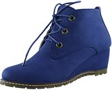 DailyShoes Women's Fashion Lace Up Round Toe Ankle High Oxford Wedge Bootie