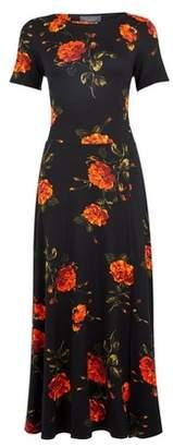 Dorothy Perkins Womens **Tall Black Floral Print Midi Dress, Black