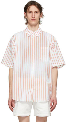 Schnaydermans White and Orange Silk Striped Short Sleeve Shirt