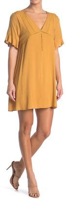 Dee Elly Lace Trim V-Neck Mini Dress