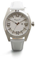 Kenneth Cole Silver Watch With White Leather Strap