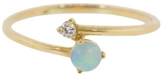 WWAKE 14kt Yellow Gold Crossover Opal And Diamond Ring