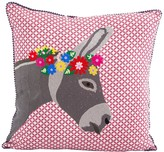 Karma Living Donkey Embroidery Pillow - 18 x 18 - Gray Rust