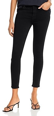 7 For All Mankind High-Waist Ankle Skinny Jeans in Slim Illusion Luxe Black