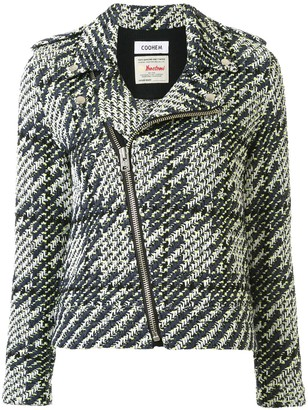 Coohem Off-Centre Zipped Houndstooth Tweed Jacket