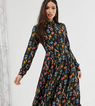 Glamorous Tall midi shirt dress with pleated skirt in bird floral-Black