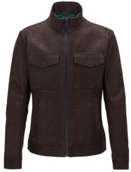 HUGO BOSS Slim Fit Jacket In Brushed Leather With Chunky Zipper - Dark Brown