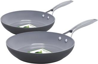 "Green Pan Paris Pro 8"" & 10"" Ceramic Nonstick Fry Pan Set"