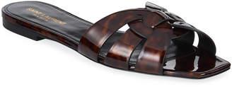 Saint Laurent Nu Pieds Flat Woven Tortoise Patent Slide Sandals