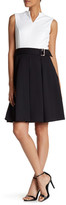 Ellen Tracy Colorblock Pique Fit & Flare Dress