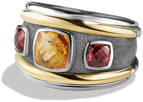David Yurman Renaissance Ring with Citrine, Rhodalite Garnet and 14K Gold