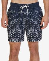 "Nautica Men's Quick Dry Wave-Print 6 1/2"" Swim Trunks"