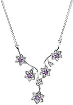 """Pandora Necklace - Sterling Silver & Cubic Zirconia Forget Me Not, 17.7"""""""
