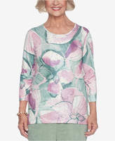 Alfred Dunner Winter Garden Embellished Printed Top