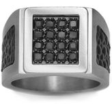 JCPenney FINE JEWELRY Mens Stainless Steel, Leather & Color-Enhanced Black Diamond-Accent Ring