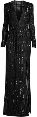 Rosa Cha Lucy Sequin Beaded Gown