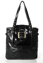 Badgley Mischka Black Leather Gold Tone Accented Shoulder Handbag