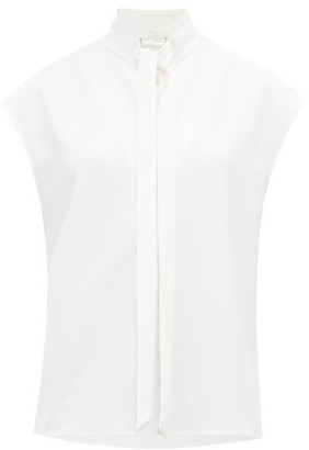 Tibi Tied High-neck Crepe Top - Womens - White