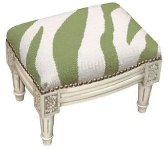 World Menagerie Charleville Zebra Stripe Wool Needlepoint Upholstered Footstool Ottoman World Menagerie Upholstery Color: Green