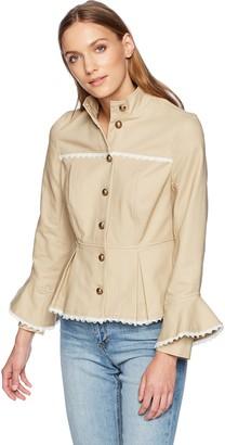 Nanette Lepore Women's Stand Collar Button Front Military JKT W/Peplum