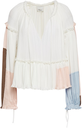 3.1 Phillip Lim Ruffle-trimmed Color-block Plisse Satin-crepe Blouse