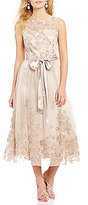 Jessica Howard Round Neck Sleeveless Illusion Embroidered Gown