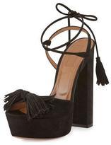 Aquazzura Wild One Tassel 140mm Sandal, Black