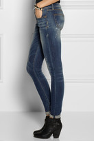 R 13 Paint-splatter distressed low-rise skinny jeans