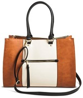 Merona Women's Color Block Tote Faux Leather Handbag with Zip Front Pocket Cognac