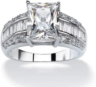 FINE JEWELRY Diamonart Womens 5 CT. T.W. White Cubic Zirconia Platinum Over Silver Rectangular Engagement Ring