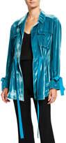 Cinq à Sept Mathieu Tie-Front Velvet Utility Jacket