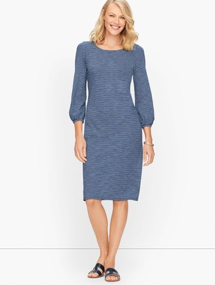 Talbots Jersey Knit Stripe Dress - Denim Knit Stripe