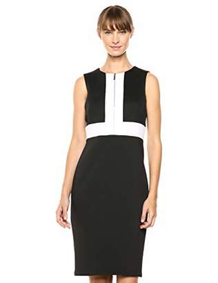 Calvin Klein Women's Sleeveless Color Block Sheath with Front Zip Dress