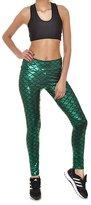 VOULOIR Women's Shiny Fish Scale Mermaid Printing Full Length Leggings Pants