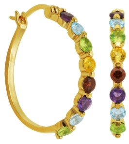 PRIME ART & JEWEL 18K Gold Over Sterling Silver Multi Stone Hoop Earrings