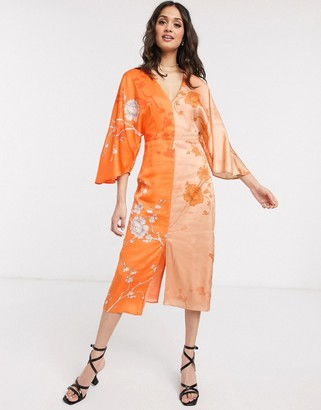 Liquorish contrast kimono midi dress with split in orange floral