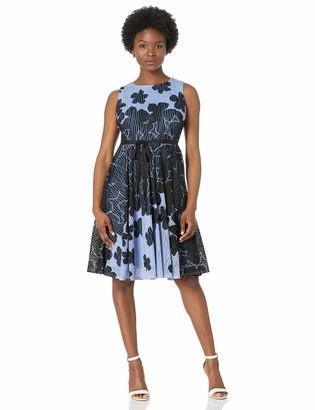 Gabby Skye Women's Petite Sleeveless Round Neck Printed Jacquard Knit Dress